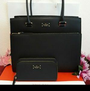 Kate Spade tote shoppers bag w/ wallet set